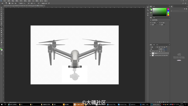 缩放相同比例橡皮擦抹掉-PS首张INSPIRE 2 PRO高清飞行姿态图片